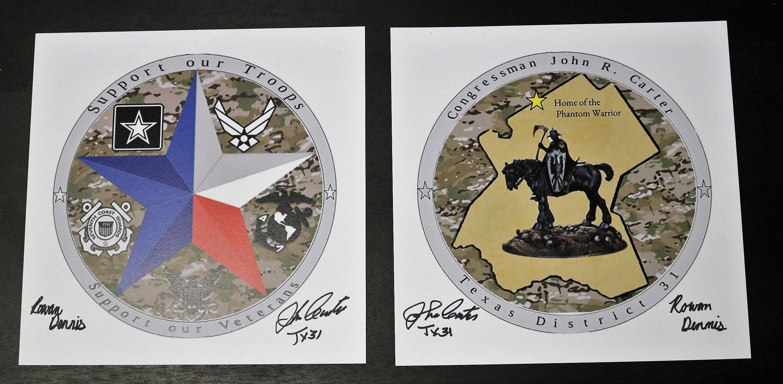 Tx 31 Young Artist Designs Carter S New Challenge Coin Congressman John Carter